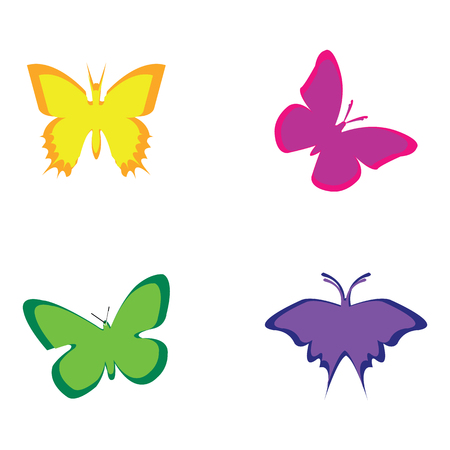 Vector illustration of colorful butterflies on white background Stock Photo