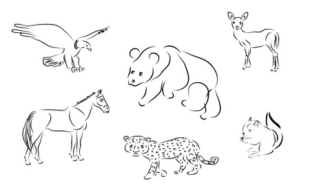 Black and white vector illustration of six animals