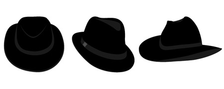 Vector collection of black hats for men