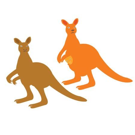 Vector illustration of two kangaroos