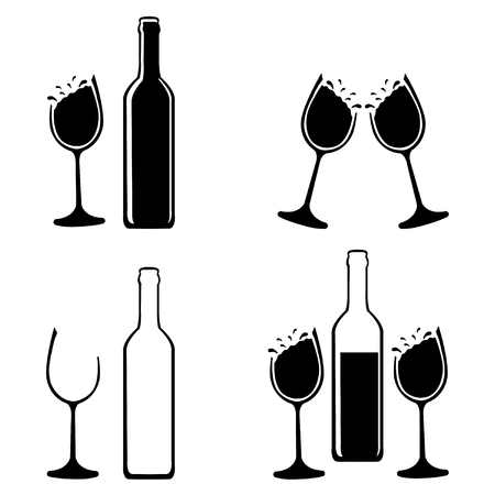 Black and white wine and champagne illustration