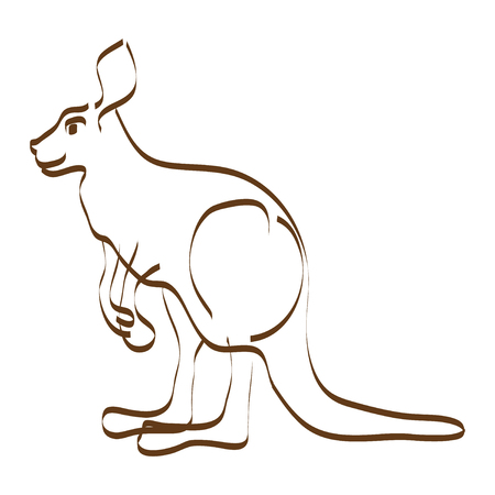 Stylized vector illustration of kangaroo