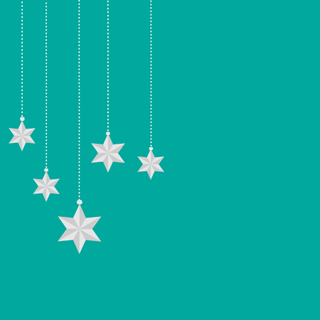 Green Christmas or New Year background with stars