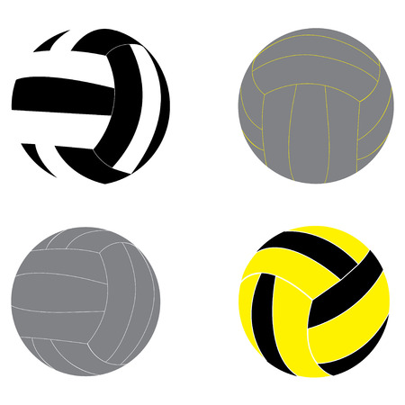 Volleyball vector illustration set with color and black and white