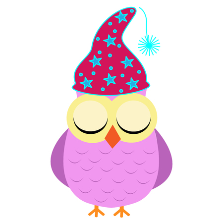 Goodnight owl with sleeping cap and eyes closed Vectores
