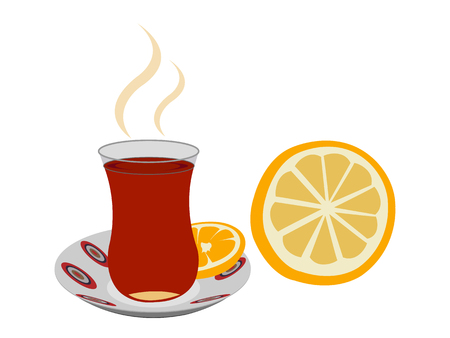 Cup of steaming Turkish tea with a lemon slice  イラスト・ベクター素材