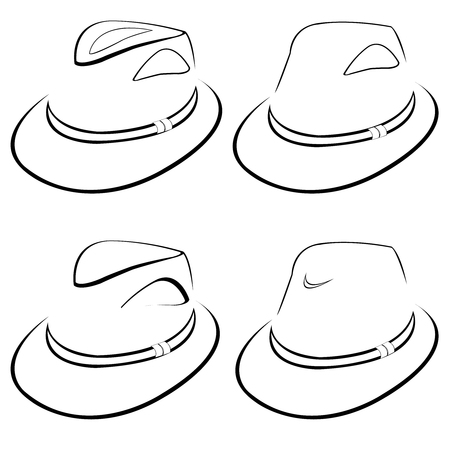 Vector collection of stylized hats for men