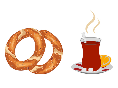 Cup of steaming turkish tea with turkish simit