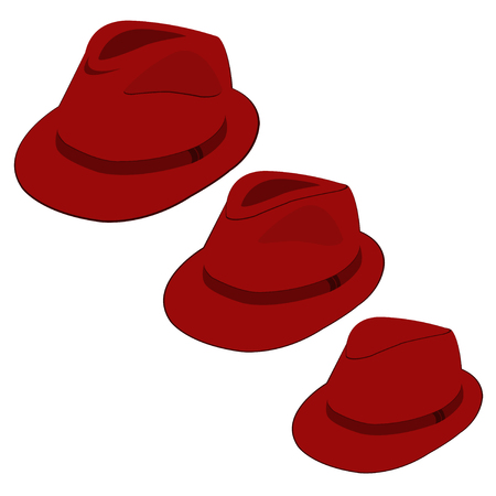 Vector collection of red hats for men