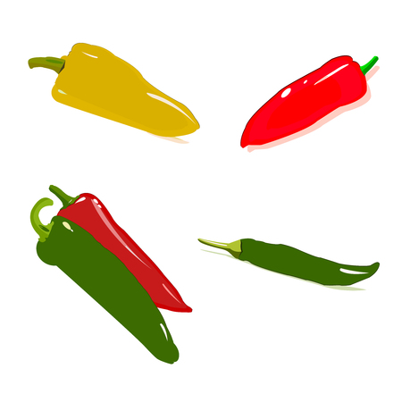 Vector set of hot peppers Illustration