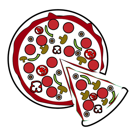 Whole pizza with slice being removed
