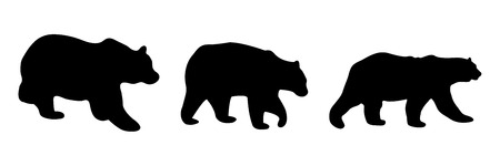 Silhouettes of three bears in various positions Ilustrace