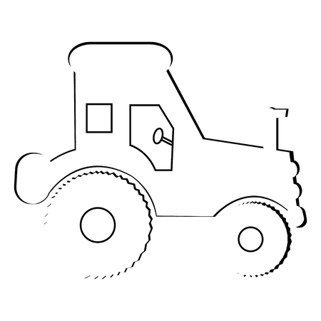Basic illustration of an outline of a tractor Banque d'images - 126507362