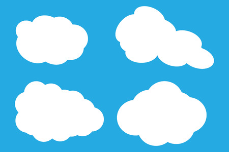 Vector illustration of clouds collection. Four clouds on blue background