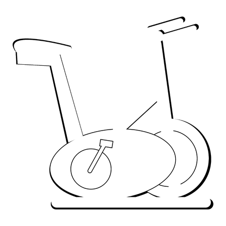 Black and white exercise bike vector illustration