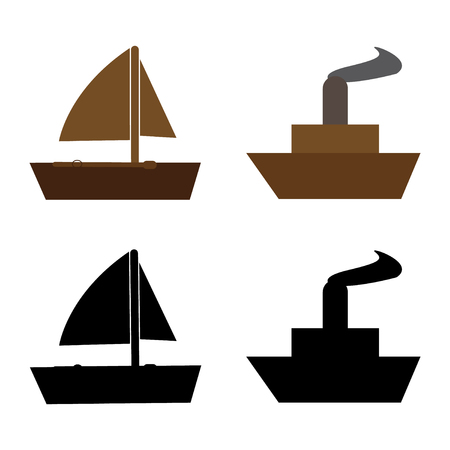Vector set of sailboats and ships Иллюстрация