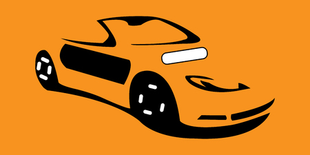 Minimalistic vector design of orange convertible