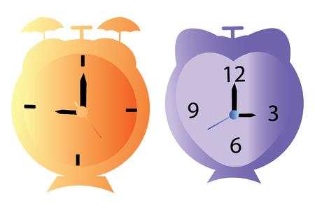 Vector illustration of two cartoon style alarm clocks Çizim