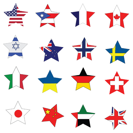 National flags star collection of multiple contries on plain white background