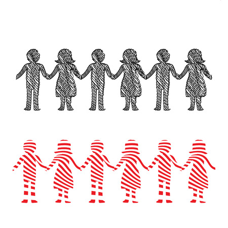 Illustration in red and black of a row of people holding hands Illusztráció