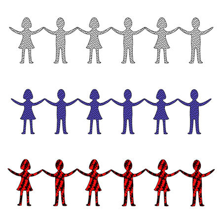Illustration in red, blue and gray of a row of people holding hands Illusztráció