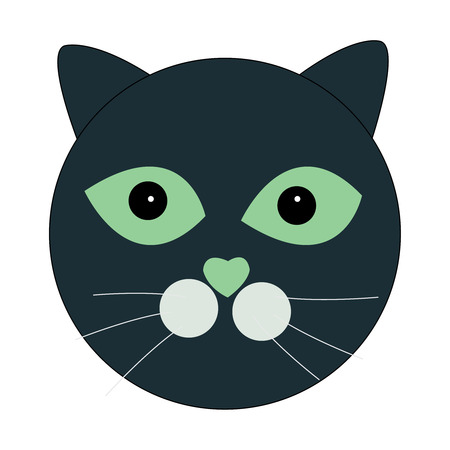 Cartoon illustration of a face of a cat