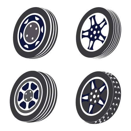 Vector illustration set of four car rims