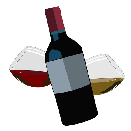 Bottle of red wine with two wineglasses Illustration