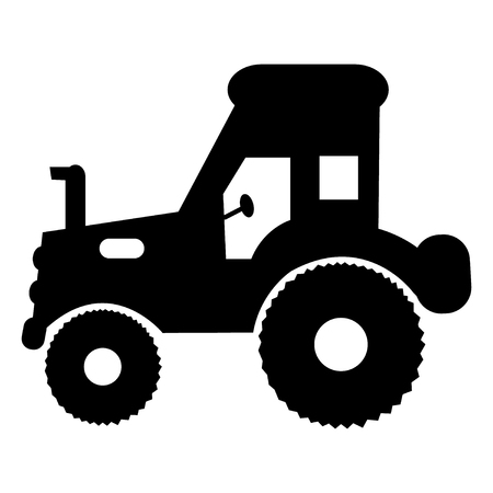 Basic illustration of a black and white tractor Banque d'images - 125592937