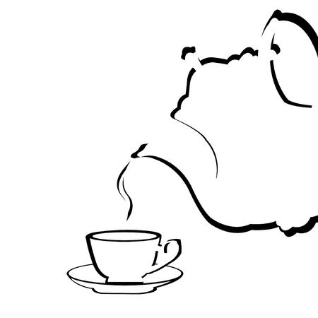 Illustration d'une théière stylisée versant du thé dans une tasse à thé