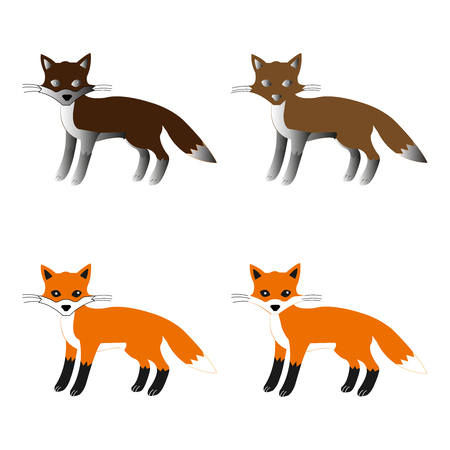 Vector set of four foxes in various colors