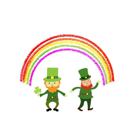 Two cute St Patricks day leprechaun cartoon character under a rainbow Illustration