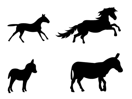 Vector set of silhouetted donkeys and horses Illustration