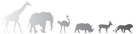 Vector set of six african safari animals Ilustracja