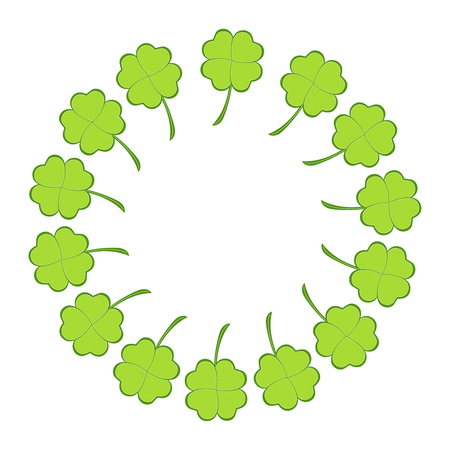 Four leaf clovers placed in a ring design Stock Illustratie