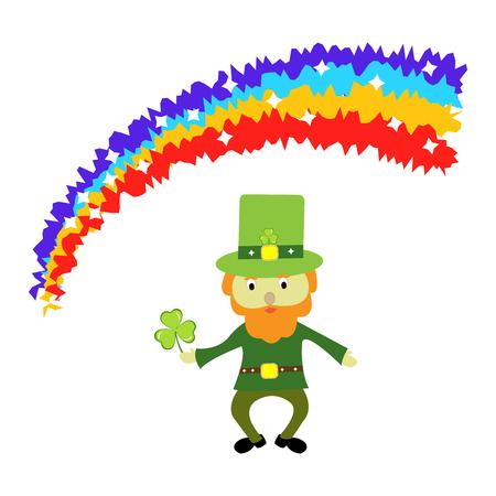Cute St Patricks day leprechaun cartoon character under a rainbow