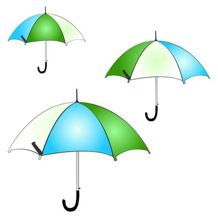 Illustration containing multi colored umbrellas