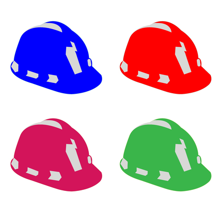 Four hard hats in various colors Çizim