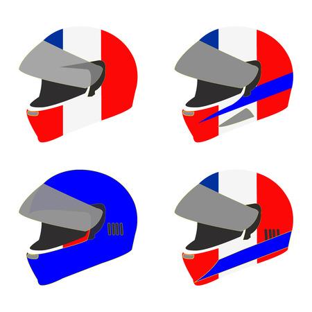 Vector set of motorcycle helmets