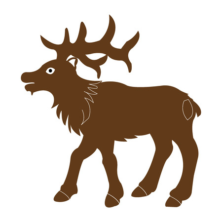 Vector illustration of bull moose on white background