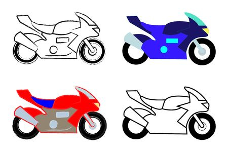 Set of four high speed motorcycles in various colors