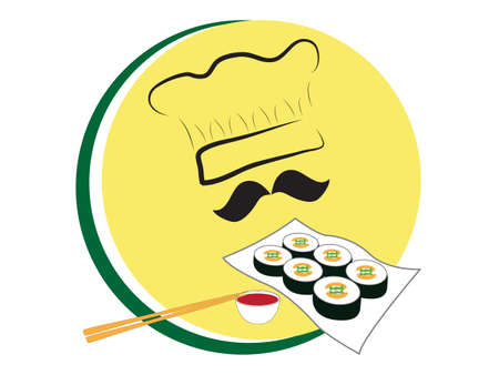 Vector illustration of chef hat with sushi rolls