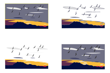 Vector background designs of a sunset with birds in the sky Illustration