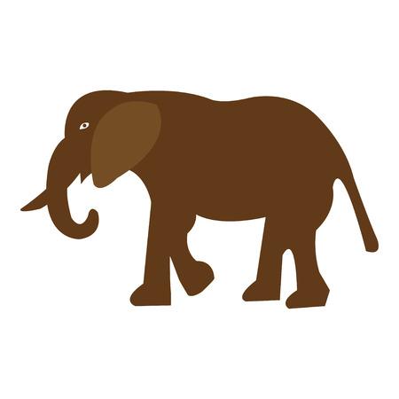 Vector illustration of walking elephant on white background