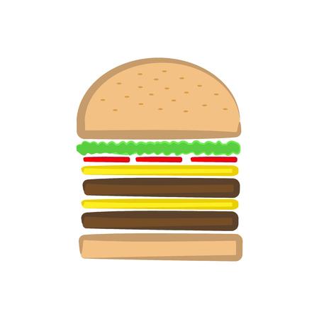 Cheeseburger vector Illustration on plain white background