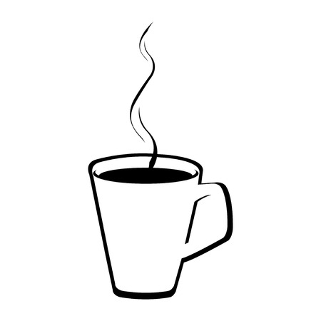 Vector illustration of a white cup of hot coffee