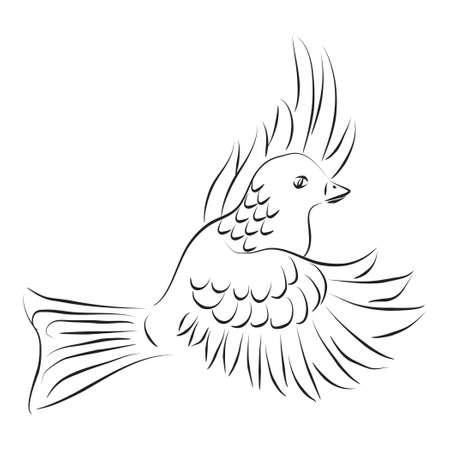 Black and white illustration of flying dove