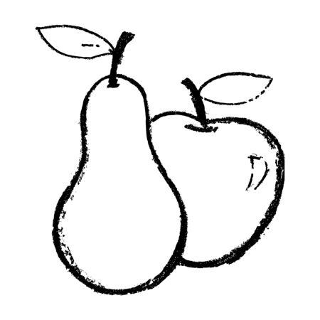 Apple and pear illustration in hand drawn sketch style