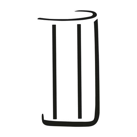 Stylized black and white vector illustration of glass tumbler