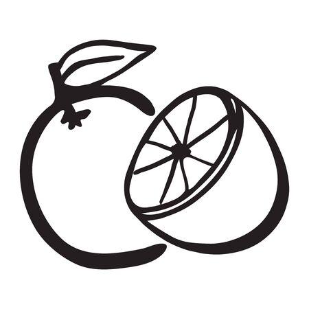Vector image of black and white oranges Stock Illustratie